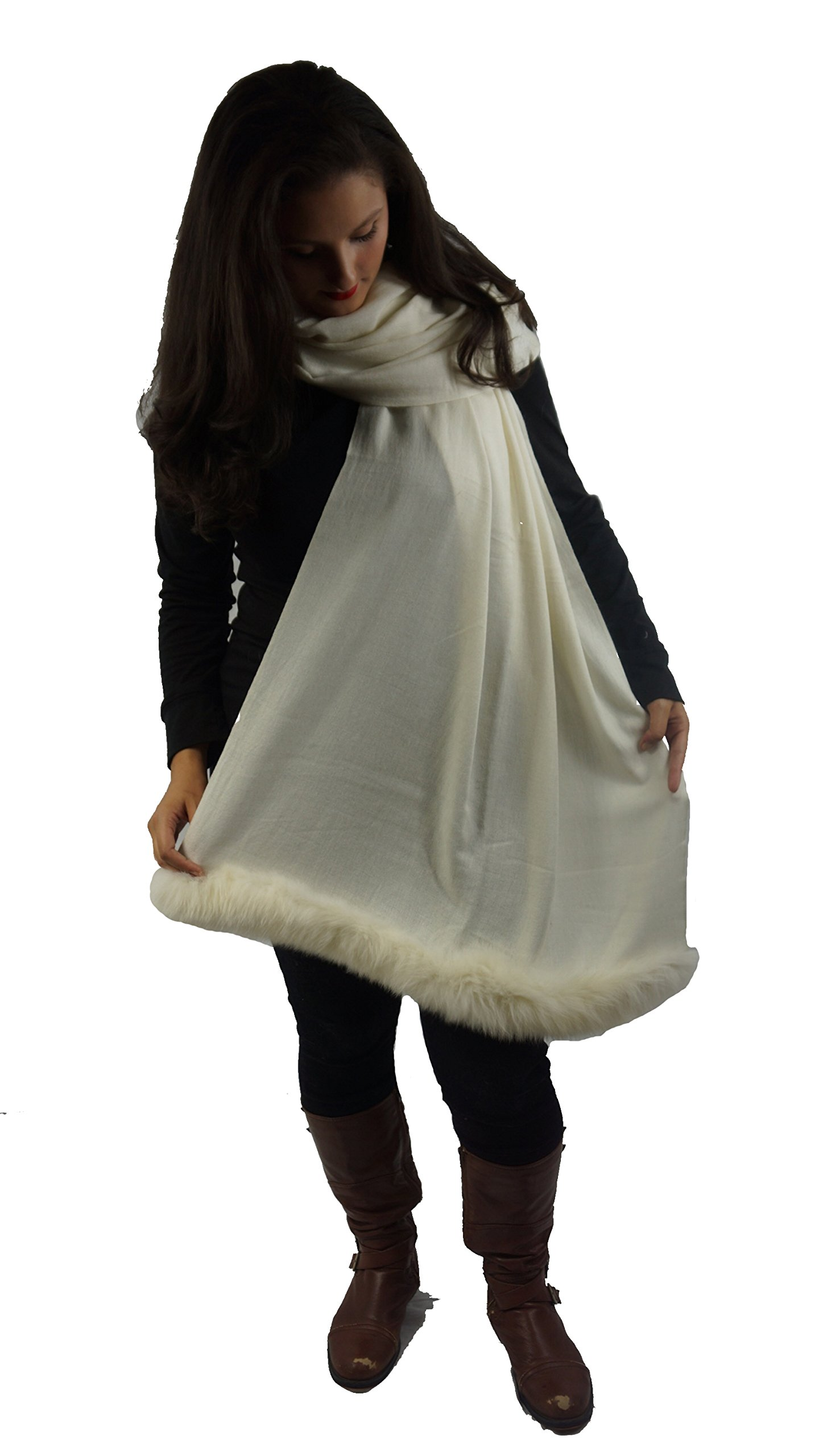 Cashmere Pashmina Group:Solid Pashmina Shawl,Scarf & Wrap(with Genuine Fur Trim) (Ivory)