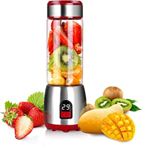 Portable Personal Blender for Smoothies, GUGUYeah USB Glass Blender Juicer Cup with Rechargeable Battery, Single Serve Fruit Mixer, 15oz Multifunctional Small Shakes and Smoothies Travel Blender (FDA, BPA Free)