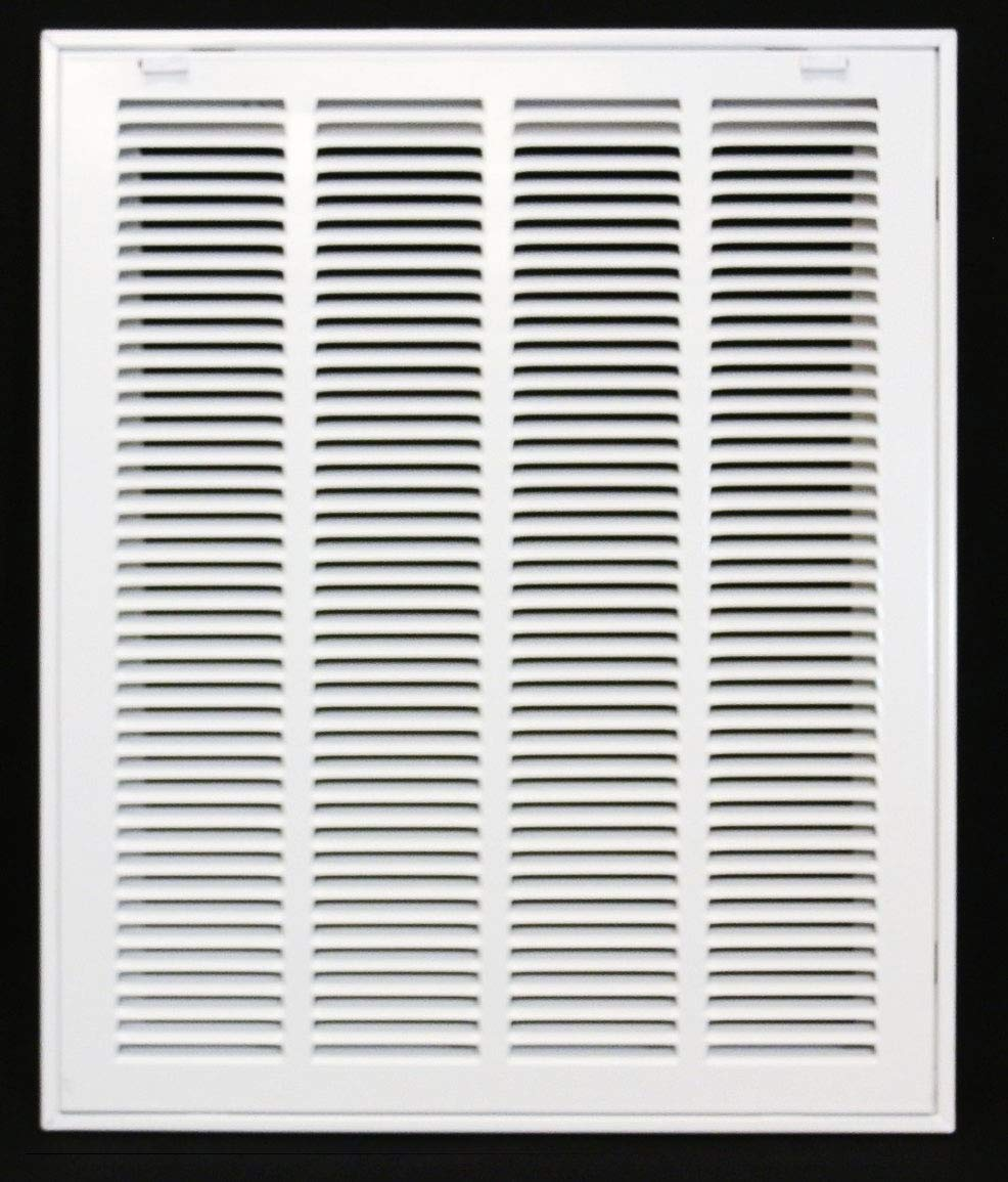 "16"" X 20 Steel Return Air Filter Grille for 1"" Filter - Removable Face/Door - HVAC Duct Cover - Flat Stamped Face - White [Outer Dimensions: 18.5 X 21.75]"