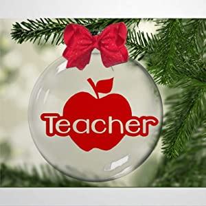BYRON HOYLE Teacher, Apple Christmas Plastic Ball Ornament, Christmas Tree Ornament Decoration Hanging Glossy Ornaments Funny Xmas Presents Window Door Kitchen Dress up Bauble