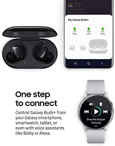 Samsung Galaxy Buds+ Plus, True Wireless Earbuds w/improved battery and call quality (Wireless Charging Case included), Black