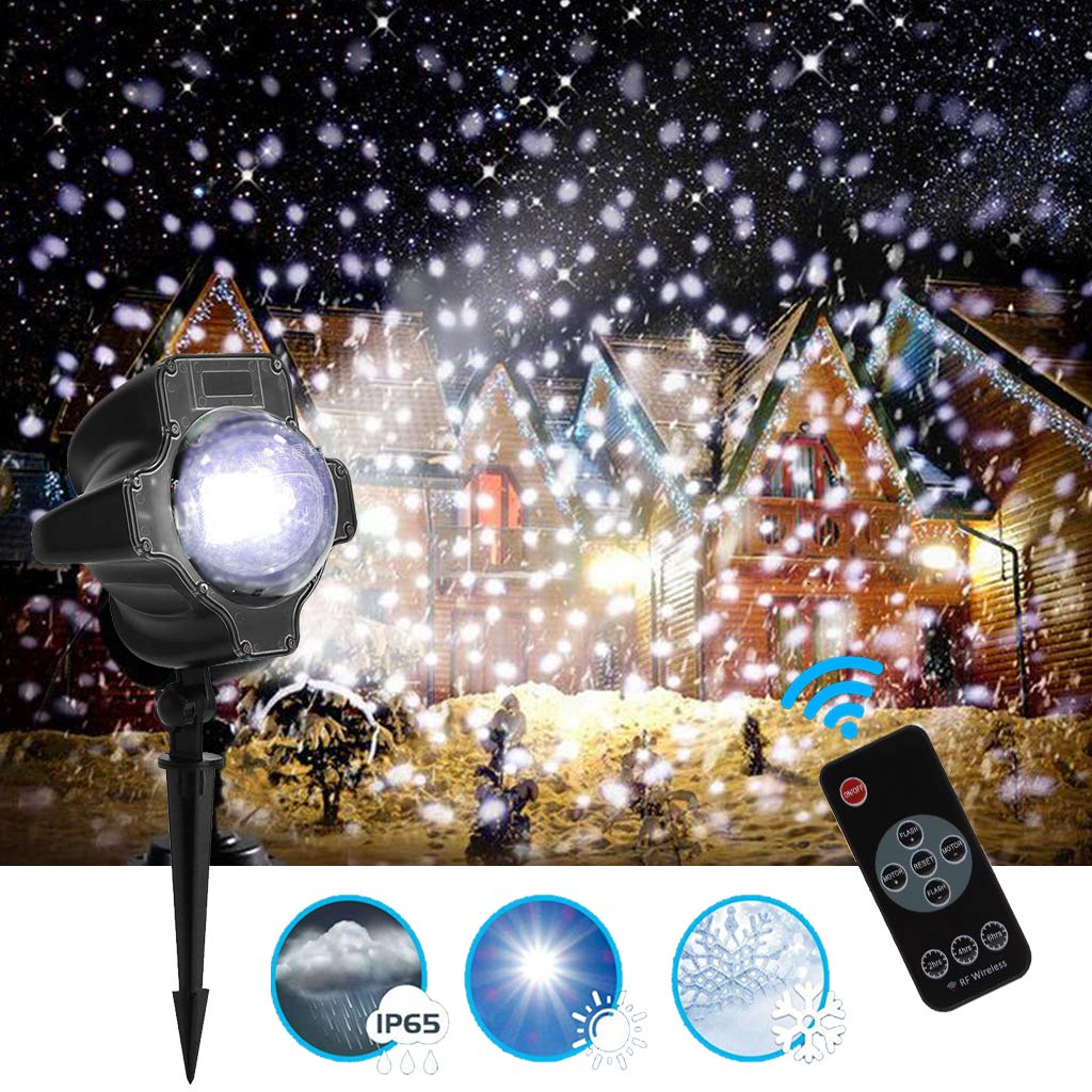 Outdoor LED Projector Light, GREEMPIRE Snow Falling Projector Lamp with Remote & Timer, IP65 Waterproof Landscape Light for Garden Christmas Halloween Party Wedding Home Decoration
