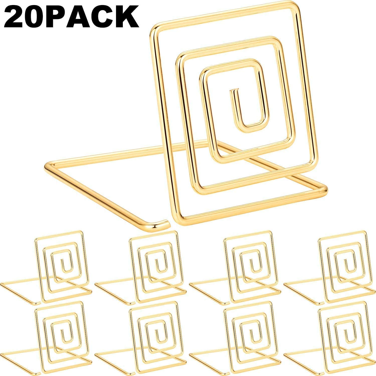 Amazon Com Chuangdi 20 Pieces Wire Place Card Holder Metal Card Holder Stand Wedding Name Place Holder For Weddings Dinner Parties Food Signs Style 1 Gold Color Home Kitchen