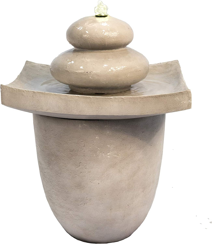 Peaktop VFD8402 Outdoor Garden Patio Backyard Decking Zen Stone 2 Tiered Floor Waterfall Water Fountain with LED Pump, Light Gray