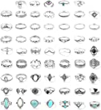 FUNRUN JEWELRY 61PCS Knuckle Ring Set for Women Opal Turquoise Joint Stackable Midi Finger Ring Bohemian Retro Vintage…