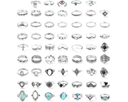 FUNRUN JEWELRY 61PCS Knuckle Ring Set for Women Joint Stackable Midi Finger Ring Bohemian Retro Vintage Jewelry