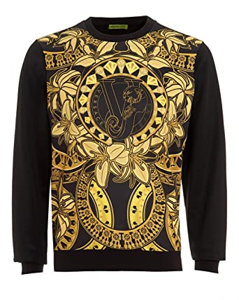 e3f05245e Versace Jeans Mens Printed Sweatshirt, Slim Fit Gold Print Black Sweat:  Amazon.co.uk: Clothing
