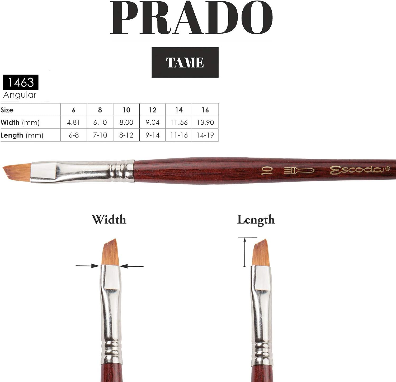 Synthetic Sable Speedball Art Products 1463-14 Escoda Prado Series Artist Watercolor /& Acrylic Short Handle Angle Paint Brush Size 14