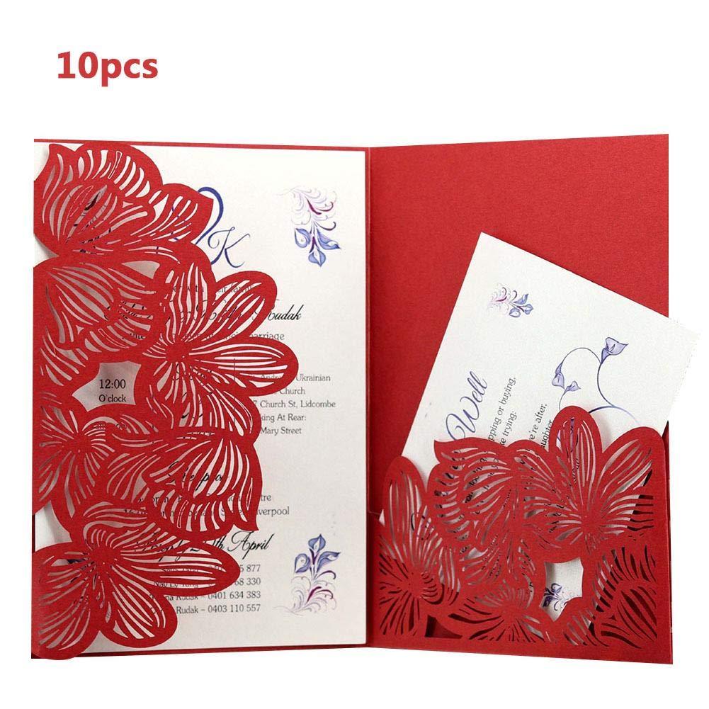 dewdropy 10pcs Laser-Cut Pretty Pocket Type Invitation Card