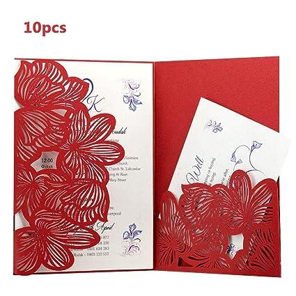 Dewdropy 10pcs Laser Cut Pretty Pocket Type Invitation Card