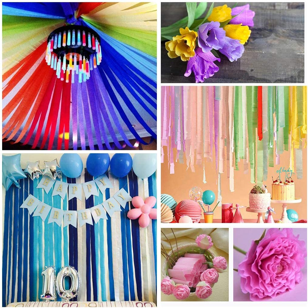 Celebration Birthday 12 Rolls Rainbow Streamers Crepe Paper Party Decorations Ribbon Paper for Christmas Party Backdrop Decorations Concert 1.8 W x 82 Feet//Roll Wedding
