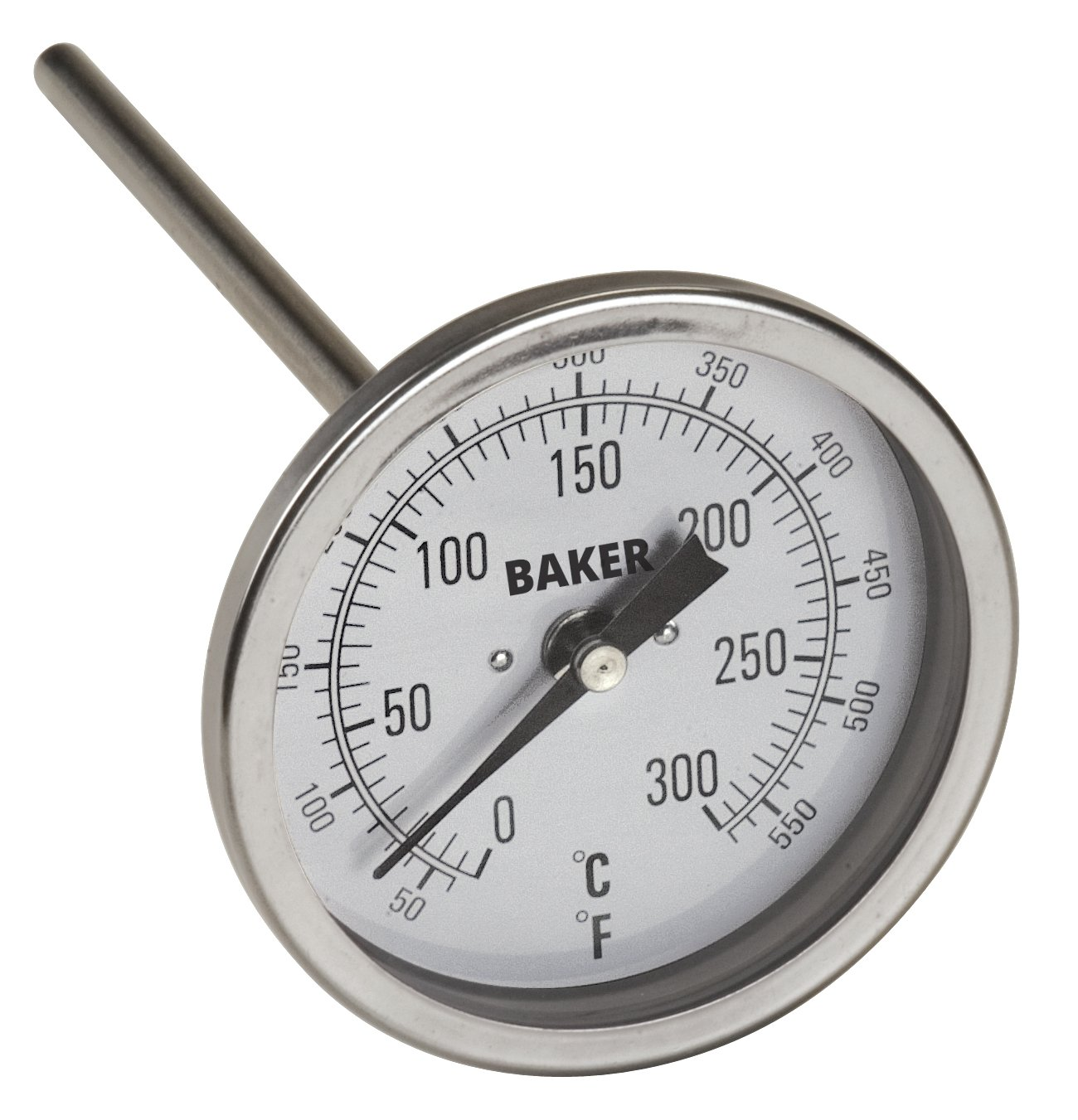 Baker Instruments T300 Series Stainless Steel Bi Metal Thermometer 50 to 550°F (0 to 260°C), 4'' Stem, 1/2'' NPT Straight Connection, 3'' Dial
