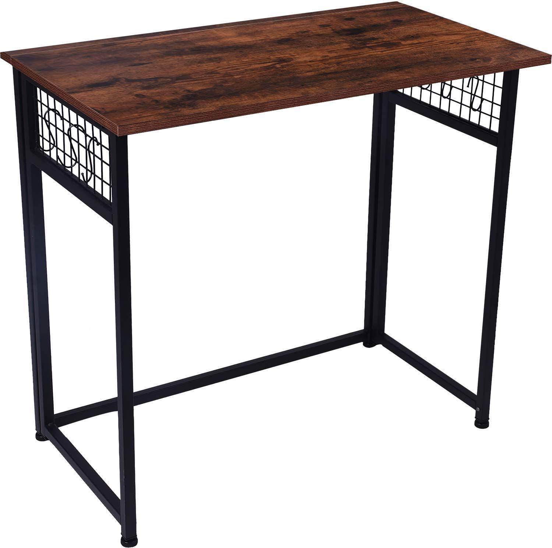 Folding Computer Desk, Dark Brown Simple Space-Saving Home Office Desk, Computer Table, Laptop Table, Writing Desk, Compact Study Reading Table, Foldable Computer Desk by DoBeesin