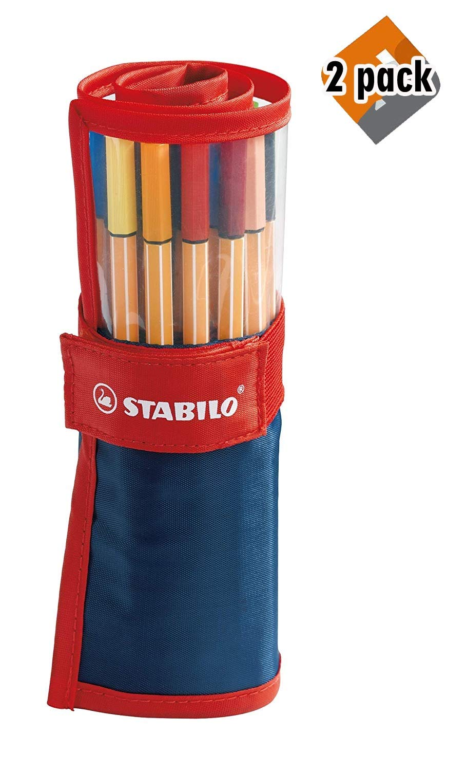 Stabilo Point 88 Fineliner Pens, 0.4 mm - 25-Color Rollercase Set, 2 Pack by Stabilo (Image #1)