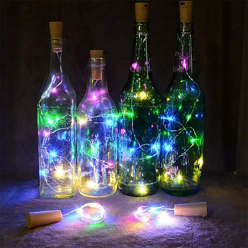 LED Bottle Lights with Cork, KEFU Fairy Lights Wine Bottle Lights with Cork, 2M 20 LED Battery Operated Wire String Light, for DIY, Party, Decor, Christmas, Halloween,Wedding (Color)