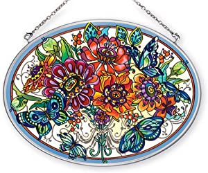 Amia Frilly Floral Sun Catcher 6-1/2 inch by 9 inches Flowers Butterflies