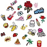 Iron on Embroidery Patch, 26pcs Motif Applique Decoration DIY Sew on Patch for Jeans, T-shirt, Clothes, Hat, Bag and More