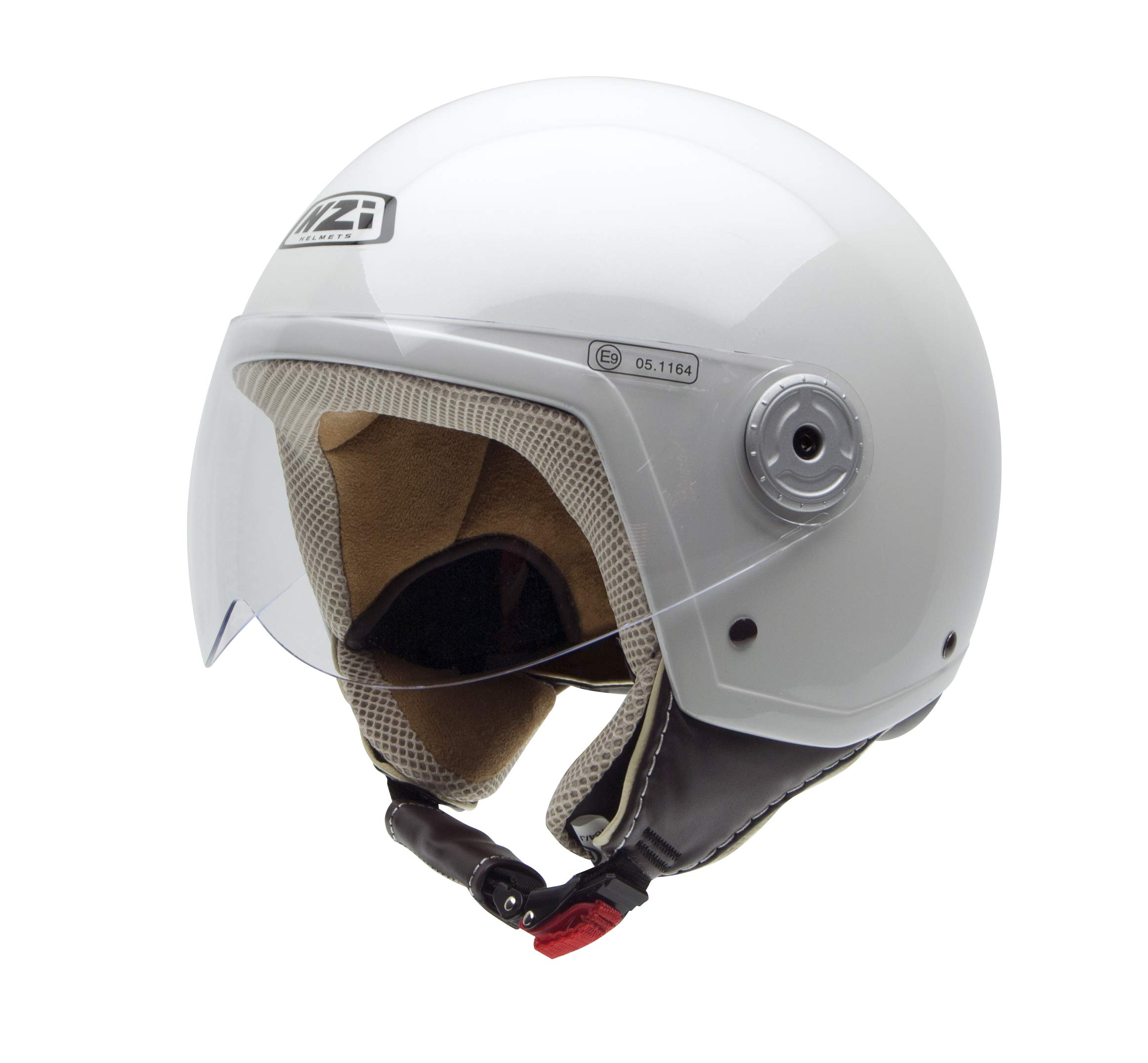 White//Blue//Red XXS NZI 490004G332 3D Vintage II Union Jack Open Face Motorcycle Helmet British Flag Detail