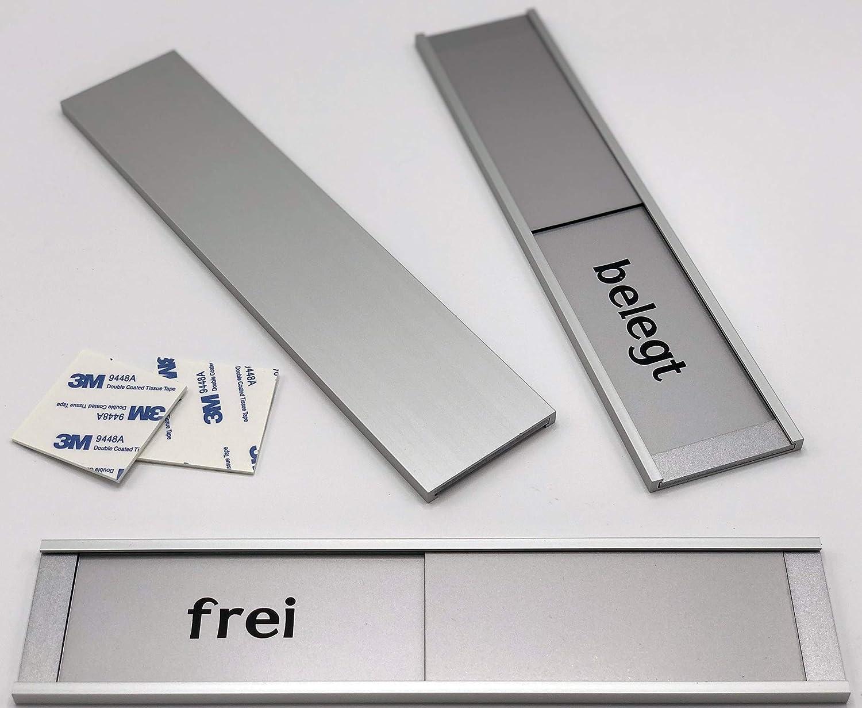 Frei Besetztschild zum Kleben Schiebeschild Montage 3M Klebefl/äche Bitte klopfen Besprechungsraumschild. 255 mm x 57 mm x 6 mm Mit Trotec Schieber besetzt Schild Pro-max aus Aluminium