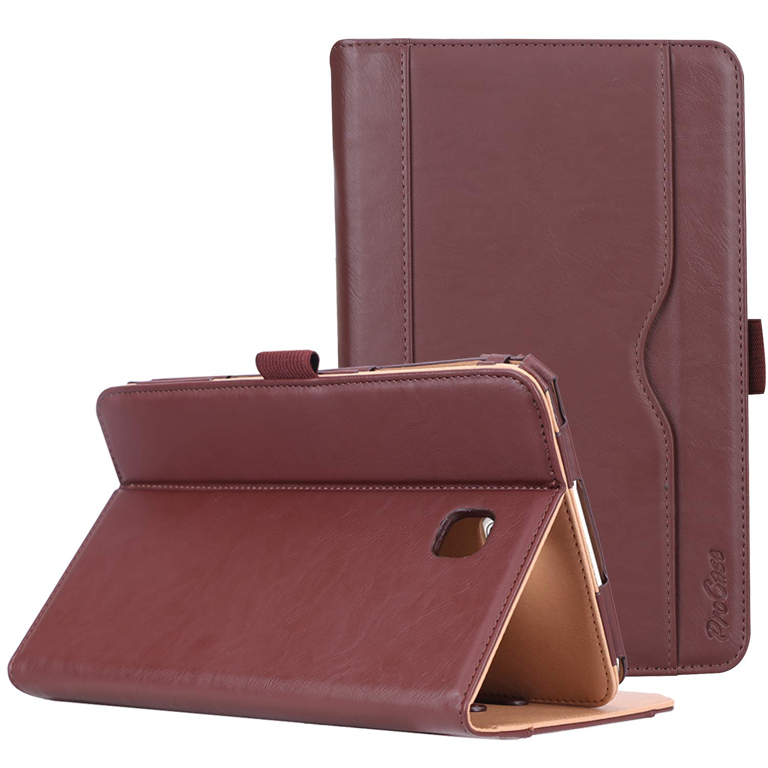 """ProCase Folio Case for Galaxy Tab A 8.0"""" 2018 Verizon Sprint SM-T387, Stand Case Cover for Galaxy Tab A 8.0 4G LTE Verizon/Sprint/T-Mobile/AT&T 2018 Release -Brown"""