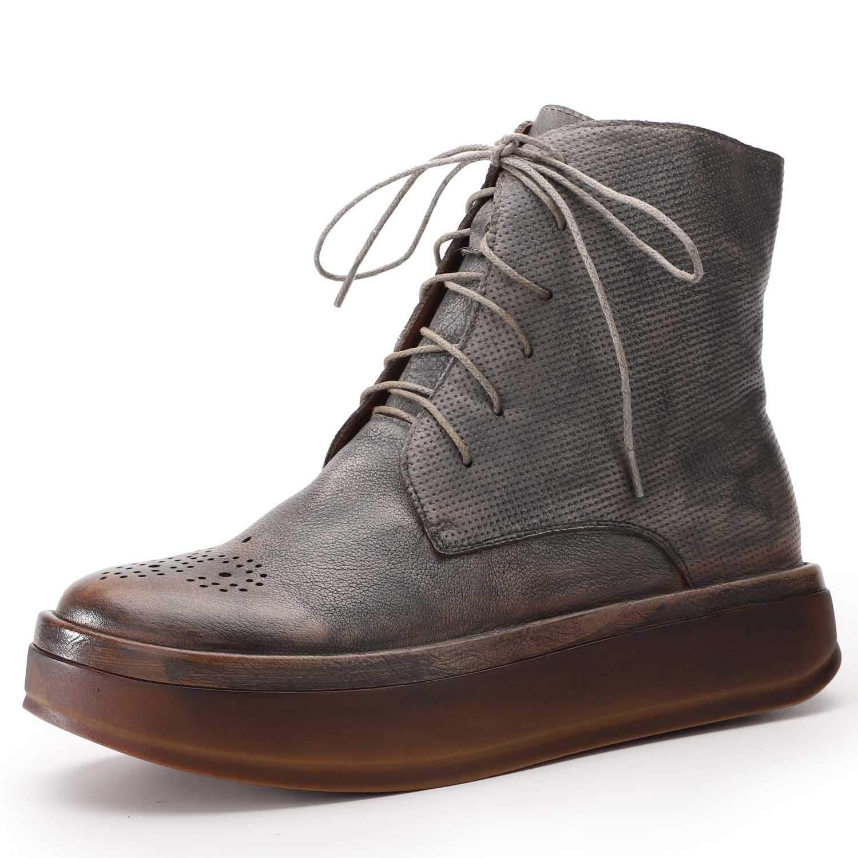 schuhe house damen es Ankle Stiefel Lace-Plateaufschuhe Leder Retro-minimalistische Stiefel grau 35-40