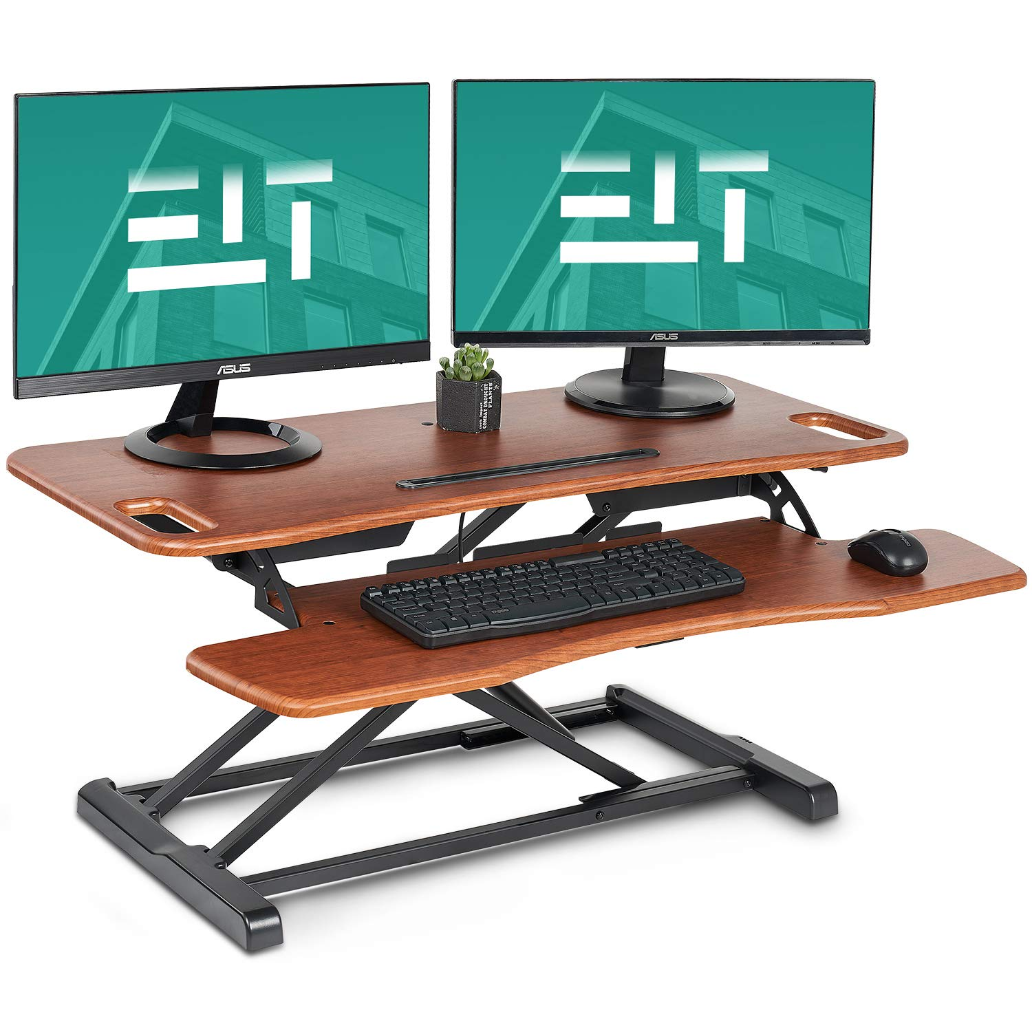 EleTab Height Adjustable Standing Desk Sit to Stand Gas Spring Riser Converter 37 inches Tabletop Workstation fits Dual Monitor Brown-nut by EleTab