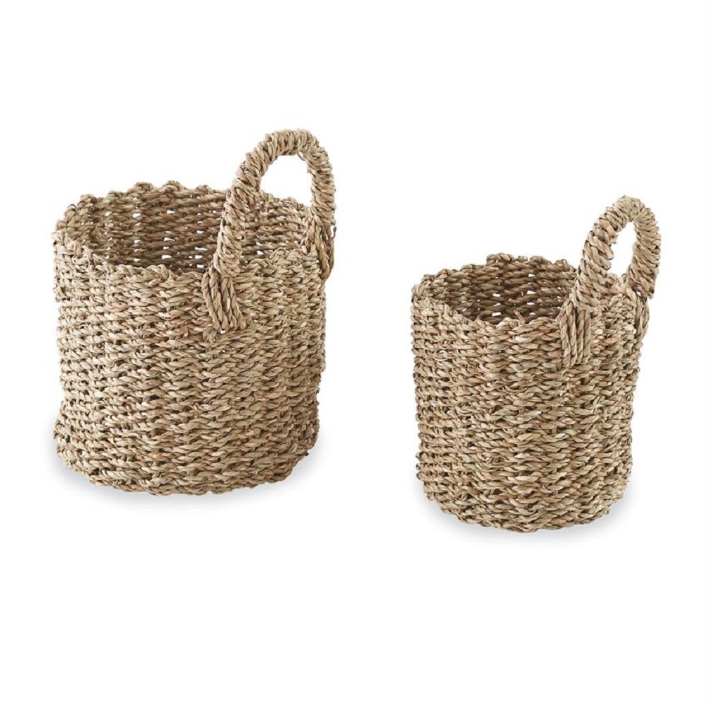 Mud Pie Seagrass Woven Brown 9 x 6 Hanging Basket With Handle Set of 2