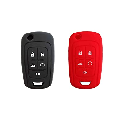 BAR Autotech Remote Key Silicone Rubber Keyless Entry Shell Case Fob and Key Skin Cover fit for Chevrolet Camaro Cruze Volt Equinox Spark Malibu Sonic (1 Pair) (Black+Red): Car Electronics
