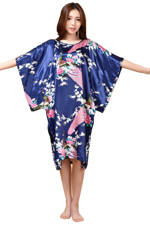 GL&G Animal pattern lady silk bathrobe thin section pajamas printing single skirt loose large yards home service comfortable Dark blue bathrobes,Dark blue,One size