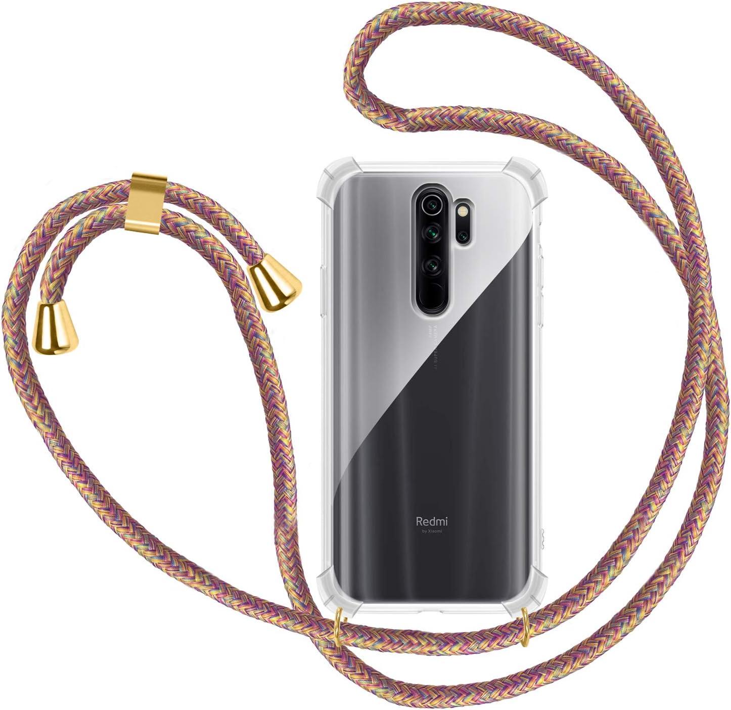 Funda con Cuerda para Xiaomi Redmi Note 8 Pro Oro Rosa Carcasa Transparente TPU Suave Silicona Case con Correa Colgante Ajustable Collar Correa de Cuello Cadena Cord/ón para Xiaomi Redmi Note 8 Pro
