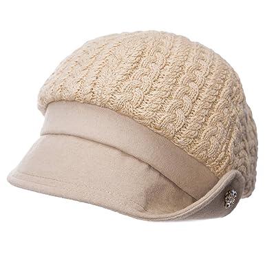 5a2a52e8a4a2 SIGGI Winter Schirmmütze Maler Mütze Wolle warme Ballonmütze Damenmütze  Beige