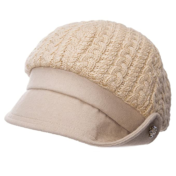 766c6d3c283 Wool Winter Hats for Womens Crushable Visor Beanie Newsboy Cap Baker Boy  Cap Beret Cloche Hat for Ladies Warm Lined Beige SIIGGI  Amazon.co.uk   Clothing