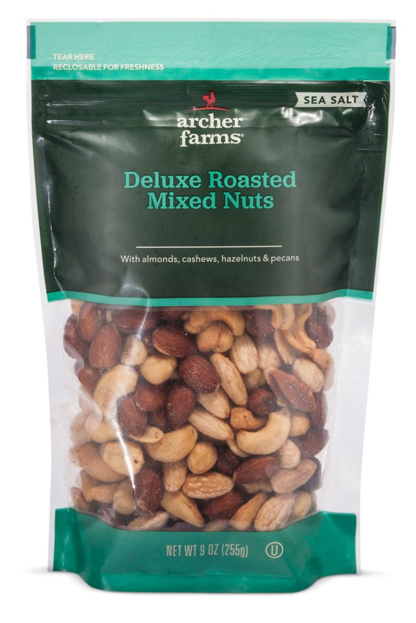Archer Farms Deluxe Roasted Mixed Nuts with Sea Salt (Almonds, Cashews, Hazelnuts, Pecans) 9oz Bag