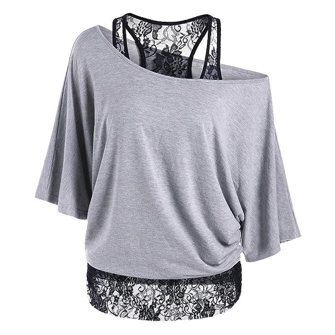 Damen Tshirt Set Langarm Pullover + Spitze Weste - Hibote Frauen 2 Stück  Shirts Sexy Shulterfrei ffe9c16569