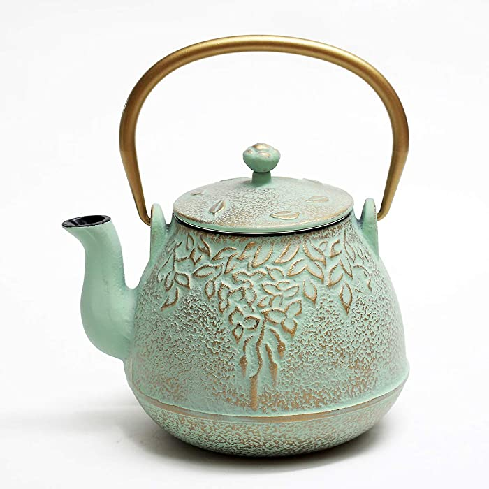 Tea Kettle, TOPTIER Japanese Cast Iron Teapot with Stainless Steel Infuser | Cast Iron Tea Kettle Stovetop Safe [Leaf Design Teapot] Coated with Enameled Interior for 32 Ounce / 950 ml, Light Green