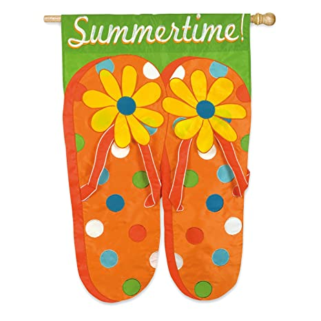 71ee050dc4c2 Amazon.com   Summertime Flip Flops Applique House Flag - Double Sided    Outdoor Decorative Flags   Garden   Outdoor