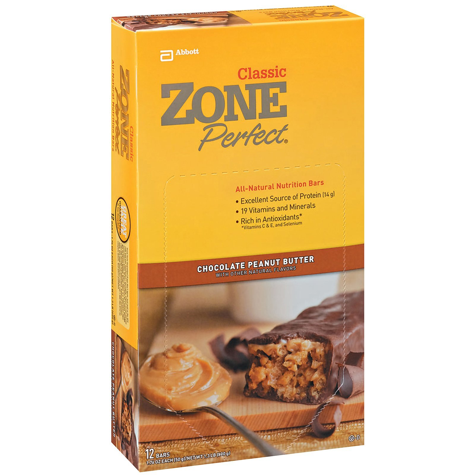 EAS Zone Perfect All Natural Nutrition Bar Chocolate Peanut Butter - 12 - 1.76 oz (50 g) bar [1.32 lb (600 g)] - 5 Pack