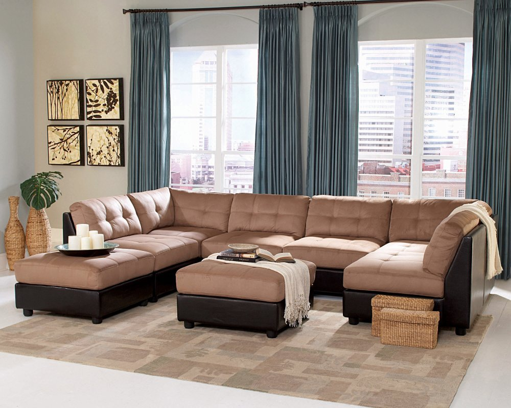 Amazon.com | Microfiber Sectional Sofa Set - 8 Piece in Brown Microfiber - Coaster Modular Furniture Coasters : microfiber sectional sofas - Sectionals, Sofas & Couches