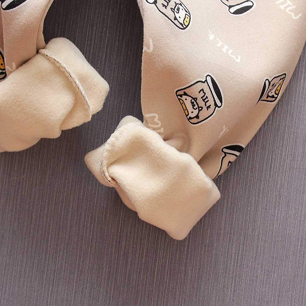 Baby Outfit Girls Cute 2PCS Winter Warm Milk Bottle Print Top Blouse Cotton Pants Clothes