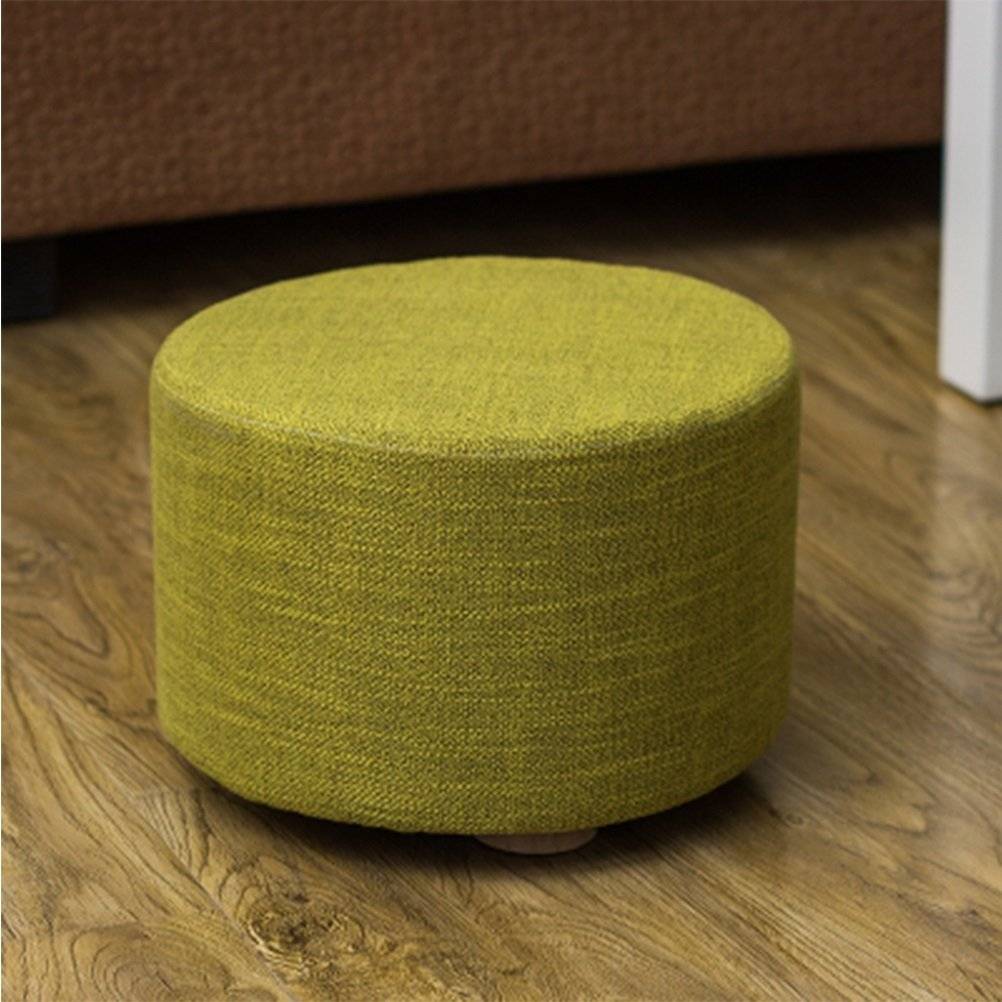 FORWIN US stool- Stool Fabric Small Shoe Bench Round Wooden Pouffe Stool Dwarf Pier Coffee Table Stool Sitting Pier Sofa Stool 28 X 28 X 20 CM stool (Color : E)