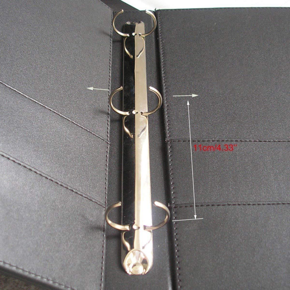 LiLan A4 Cartella ad Anelli Raccoglitore a 3 anelli Pu Ecopelle Marrone scuro