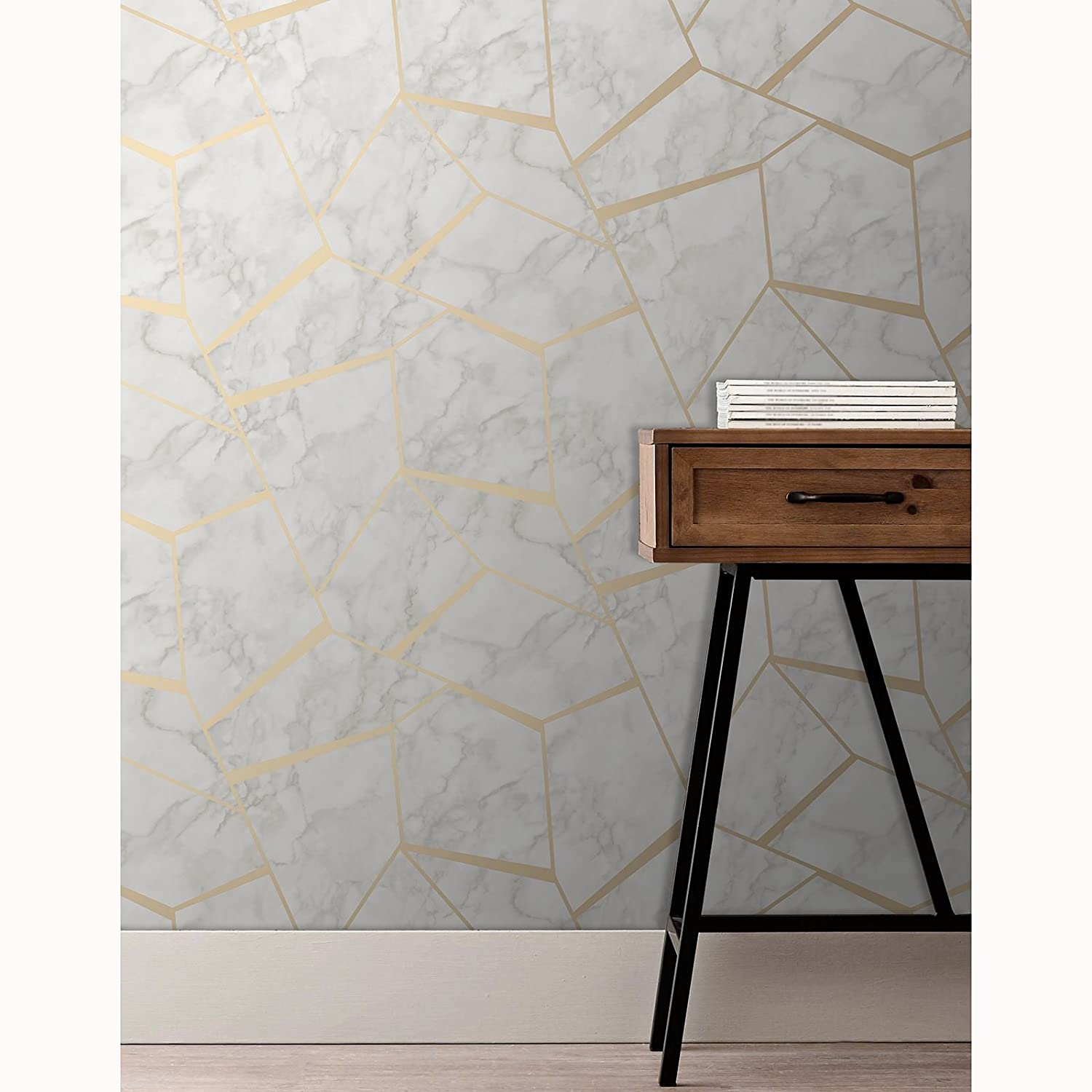 Fractal Geometric Marble Wallpaper Gold And White Fine Decor