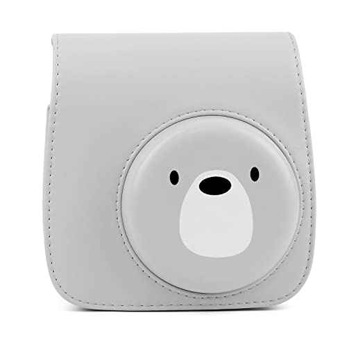 Alkia Protective Case Compatible for Fujifilm Instax Mini 9 / Mini 8 / Mini 8+ Instant Camera Case Bag - Premium Vegan Leather Bag Cover with Removable Strap (Bear)