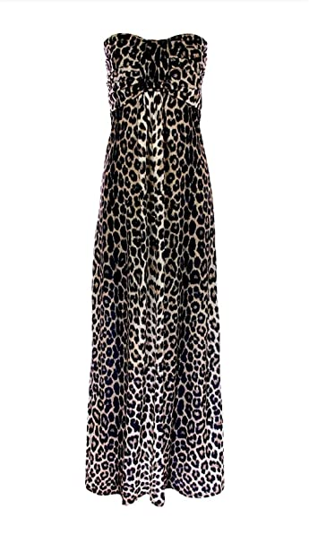 55c523eaa351 Rimi Hanger Womens Leopard Print Knot Front Boob Tube Maxi Dress Ladies  Strapless Long Dress Leopard