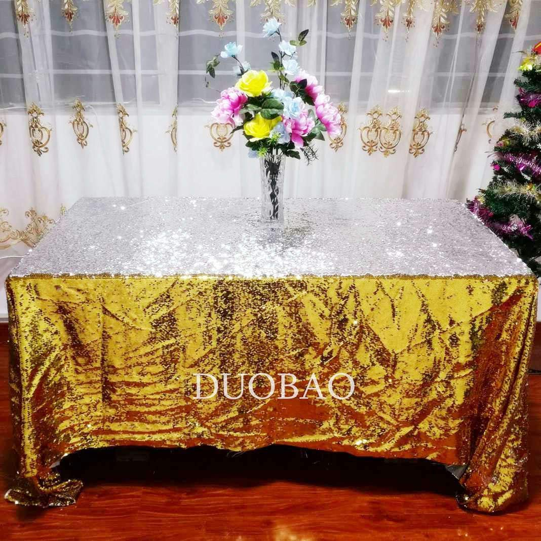 DUOBAO Sequin Tablecloth 60x84-Inch Gold Mermaid Sequin Fabric Gold to Silver Glitter Tablecloth Reversible tablecloths for Rectangle Tables~0516