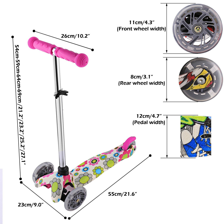 Profun Patinete Scooter para Niños Patinete de 3 Ruedas PU LED Luces Altura de Manillar Ajustable 54CM-69CM para Niños de 3-7 años (Flores): Amazon.es: ...