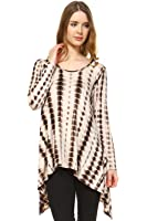 Frumos Womens Long Sleeve Printed High Low Tunic Top Made In USA