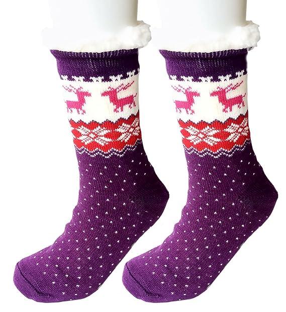 Mujeres Invierno Pantufla Calcetines Copo de nieve Alce Vellón Hacer punto Tubo Calcetines Navidad Medias (