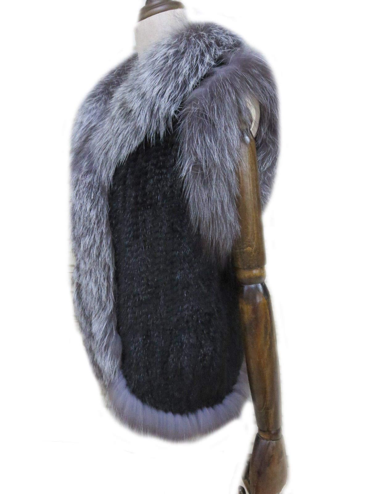 Women's Elegant Real Mink Fur Vest With Sliver Fox Fur Collar (Mink Fur + Sliver Fox Fur Vest) by DTDYG18 (Image #4)