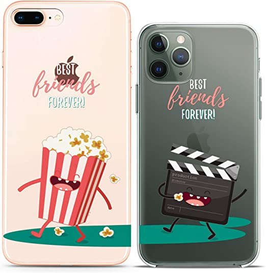 Cavka Matching Couple Cases Replacement for iPhone 12 Pro 5G Mini 11 Xs Max 6s 8 Plus 7 Xr 10 SE X 5 Best Friends Forever Cinema Popcorn Silicone ...